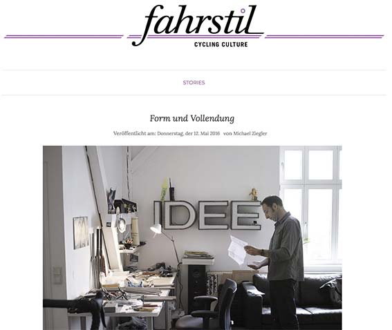 "5/2016 _ ""fahrstil"" STORIES _ Form & Vollendung"